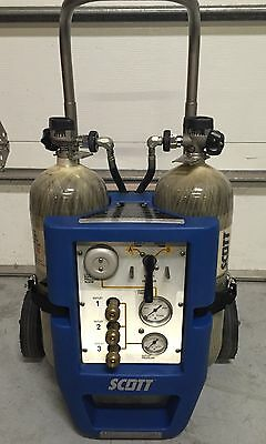 Air Supply System, Scott Safety, Luxfer, 3 Outlet, Dual Tank, Air Cart, 50' Hose