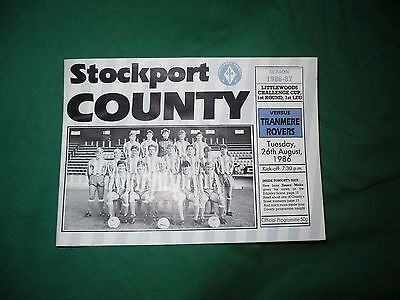 Stockport County v. Tranmere, 26/08/1986 - Littlewoods Cup, 1st Leg