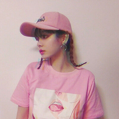 b37e3846426315 Harajuku Ulzzang Lip Sexy Peach T-Shirts Korean Loose Cute Casual Pink  Kawaii
