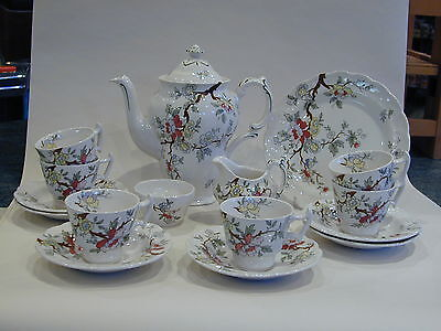 Rare Booths Chinese Tree complete coffee set, with a plate. Art Deco