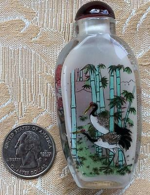small Vtg Chinese birds reverse painted glass snuff scent perfume bottle