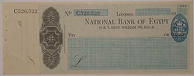 Egypt, National Bank of Egypt. London branch unused cheque 1946