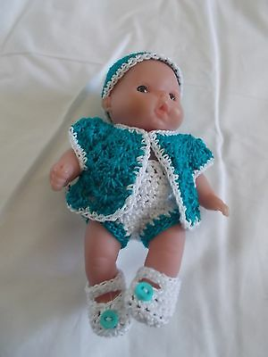 clothes fits 5 inch itty baby 4 piece peacock and white outfit