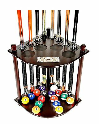 8 Pool Billiard Stick & Ball Floor Stand with Scorer Cue Rack Only Mahogany