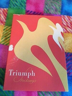 One pair boxed Vintage Triumph Garter Stockings 10 1/2-11 Pink Sand