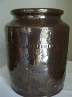 19th C early 1800's Kitchenware Magnganese Glazed Redware Storage Jar