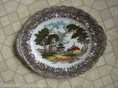 "Vntg Grindley English Poly-Chrome Black Transferware 12"" Platter Country Styl"
