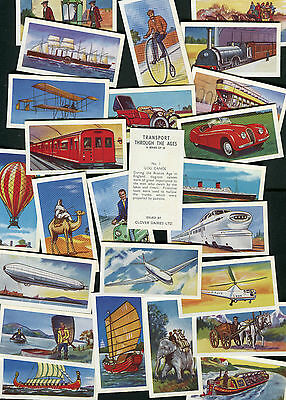 """Clover Dairies 1971 Set Of 25 """"transport Through The Ages"""" Trade Cards"""