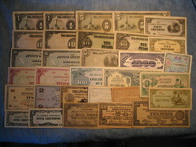 THIRTY ONE banknotes. WWII Japan and Occupied, mostly high grade, 1940's