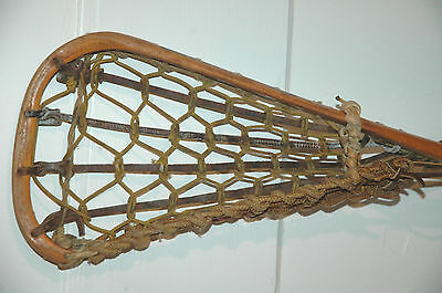 Vintage Patterson Tuscarora WOODEN Lacrosse Stick WOOD Indian Hand Made LAX