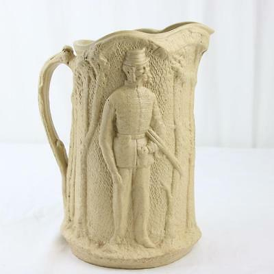 Antique Volunteer Rifle Corps Relief Molded Pitcher Parian Ware Staffordshire