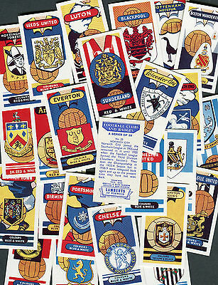 "Lambert Tea 1958 Set Of 25 ""football Clubs And Badges"" Trade Cards"