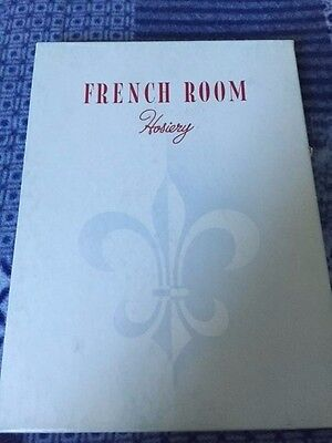One Pair of Boxed Vintage French Room Garter Stockings Bone Size 10 1/2-11