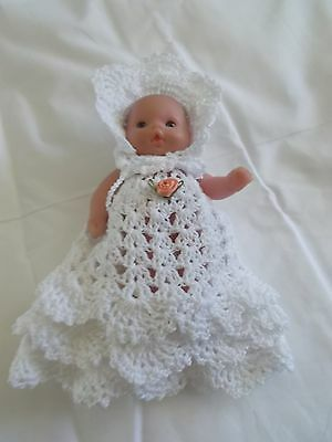 clothes fits 5 inch itty baby 2 piece outfit lot white gown and bonnet