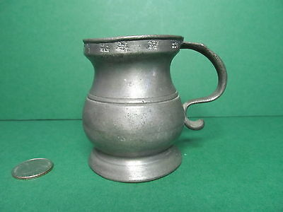 Antique English pewter 1/4 pint measure