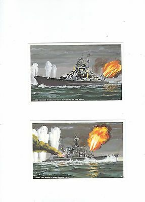 Sinking Of The Hood &bismark A Set Of 6 Postcards