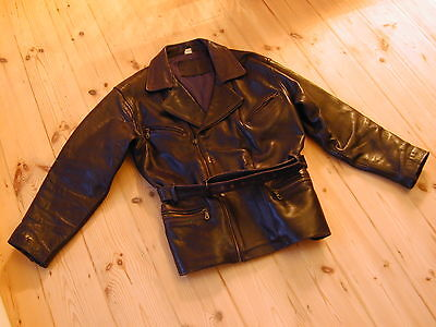 Vintage Quality Mens Leather Jacket - Medium - very dark brown