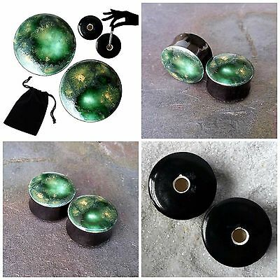 Pair - Alligator Green Glass Ear Plugs Double-flared Gauges Stretchers Tunnels