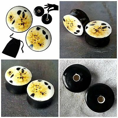 Pair - Cheetah Glass Ear Plugs Double-flared Gauges Stretchers Tunnels