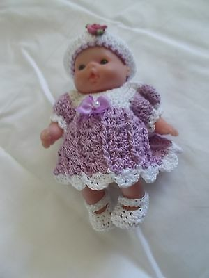 clothes fits 5 inch itty baby  4 piece purple and white outfit