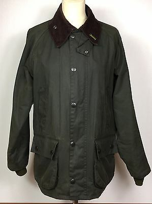 Green Wax Barbour Bedale Jacket & Pin Brooch