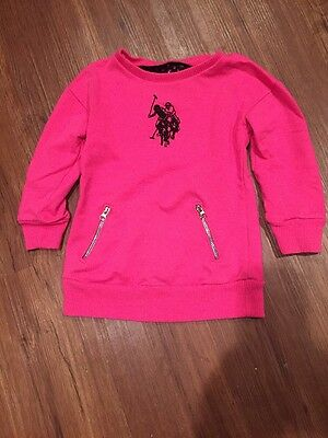 U.S. POLO ASSN. Pink Sweatshirt Tunic Size 3T With Polo Decal