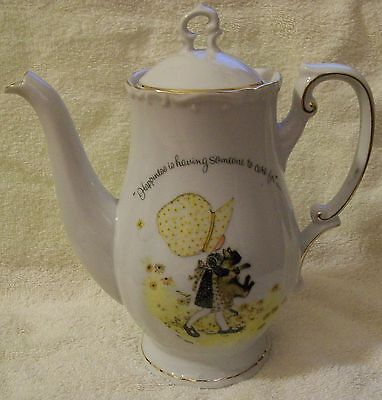 Vintage Holly Hobbie Coffee Pot With Lid Girl & Cat Teapot Porcelain