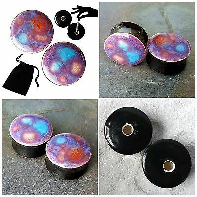 Pair Purple Blaze Galaxy Glass Ear Plugs Double-flared Gauges Stretchers Tunnels