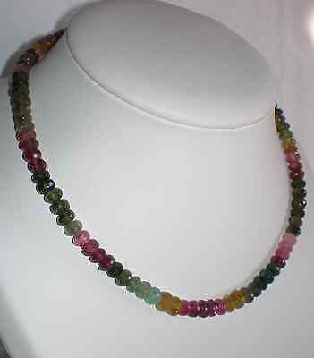 "Tourmaline Multicolore  -  COLLIER   perles: boutons facettés  6 mm - extra ""EE"""