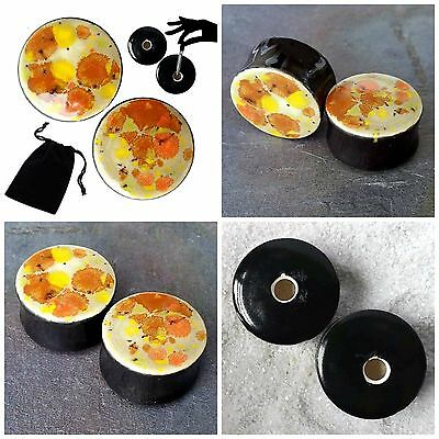 Pair - Sand Petal Glass Ear Plugs Double-flared Gauges Stretchers Tunnels