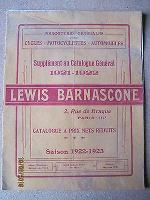 lewis barnascone cycles motocyclettes automobiles catalogue 1922-1923