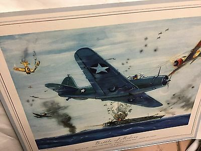 "WWII ""Battle Of Midway"" Print US Navy Torpedo Plane By Hubbell"