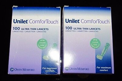 2 Boxes Of Ultra Thin Unilet Comfor Touch Lancets ***brand New****