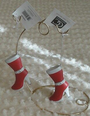 Set of Red & White Winter Dress Boots Ornaments New with Tags