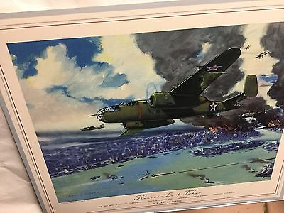 "WWII Print ""Shangri-La To Tokyo""  B-25 Bomber Army Air Force Hubbell"