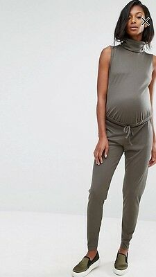 Missguided Maternity Slouch Ribbed High Neck Jumpsuit  Size 12