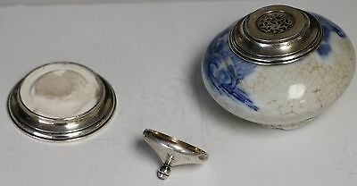 Ming Dynasty Porcelain Sterling Silver .925 Top and Bottom 2 Inch
