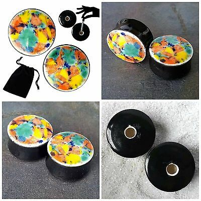 Pair - Fruity Pebbles Glass Ear Plugs Double-flared Gauges Stretchers Tunnels
