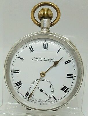 Nice solid silver gents H. SAMUEL Manchester pocket watch 1907 working