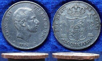 PHILIPPINES - silver 50 centimos 1885 KM# 150 Spanish Colony Alfonso XII 1874-85