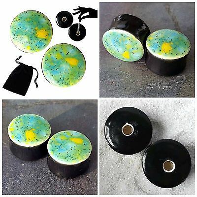 Pair - Meadow Glass Ear Plugs Double-flared Gauges Fashion Stretchers Tunnels