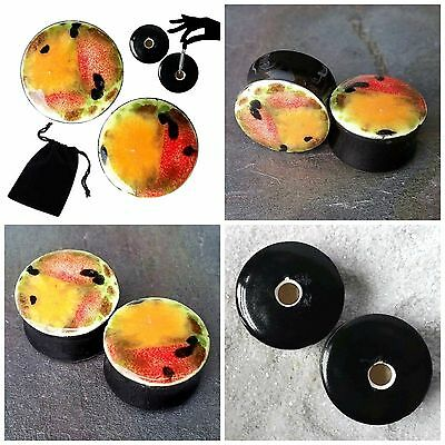 Pair - Mixed Melon Glass Ear Plugs Double-flared Gauges Stretchers Tunnels