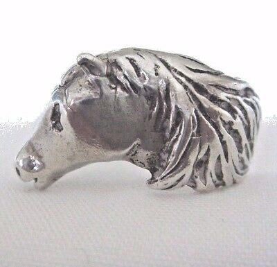 .925 Sterling Silver Horse Ring   -   Size 6.5