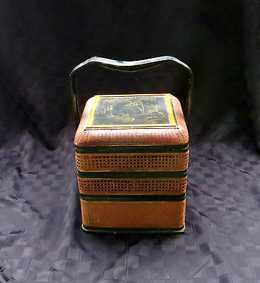 Antique Early 1900s Chinese Unusual Square 3-Tier Chinese Wedding Basket