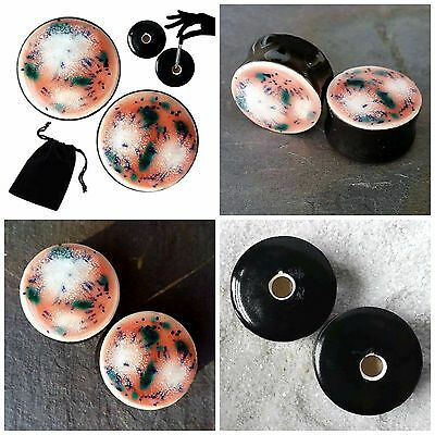 Pair - Coral Puff Glass Ear Plugs Double-flared Gauges Stretchers Tunnels