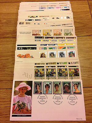 Job Lot of 54 UK GB FDC's First Day Covers from 1982 to 1998 Lot #A127