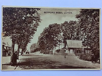 vintage postcard, Luton, Bedford Road, early view