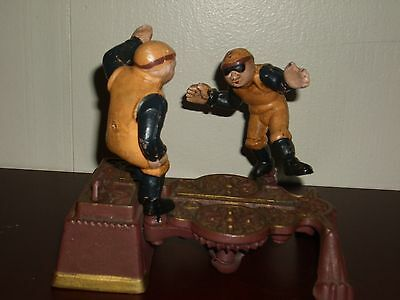 Vintage Cast Iron Soccer Players Mechanical Bank