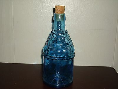 Vintage Blue Glass Bitters Bottle With Cork Stopper