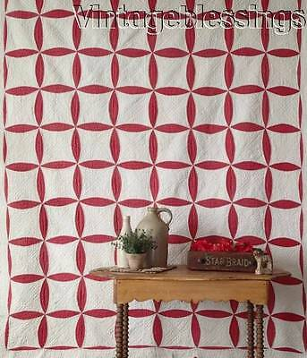 Densely Quilted ANTIQUE c1900 Turkey Red & White QUILT Neat Border